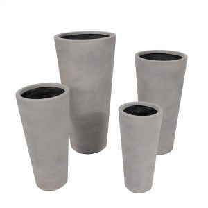 Set of 4 – Tall Crucible Planter Gray