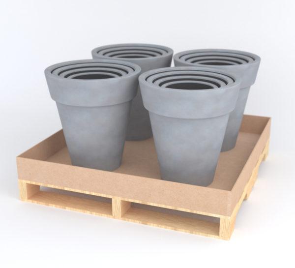 Set of 4 – Nestable Pot (Sm, Med, Lg & XL) – Light Gray Lifestyle Pallet