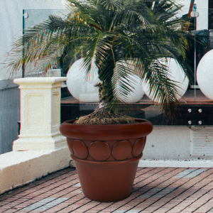 32″ dia Commercial Planter Terracotta Finish Lifestyle