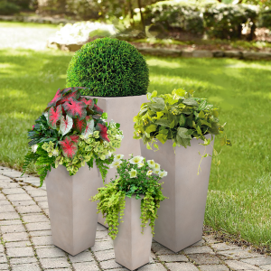 Set of 4 – Tall Square Tapered Planter Gray Lifestyle