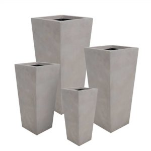 Set of 4 – Tall Square Tapered Planter Gray