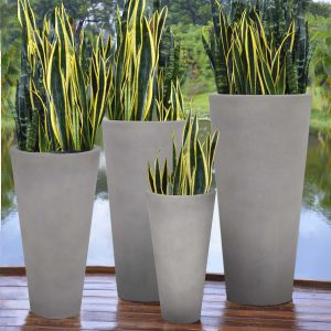 Set of 4 – Tall Crucible Planter Gray Lifestyle