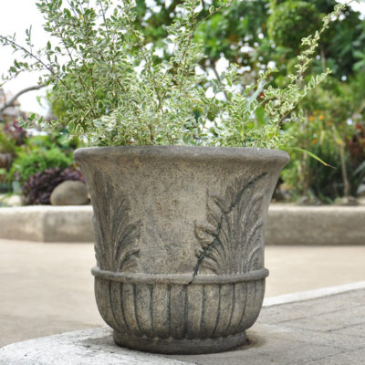 16 in. Round Granite Cast Stone Leaf Pot (PF3680SAG)