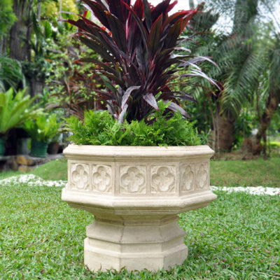 24 in. x 19-1/2 in. Cast Stone Hexagonal Gothic Urn in Limestone (PF4465AL)
