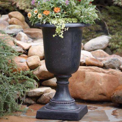 17-1/2 in. x 29 in. Cast Stone Italian Urn in Aged Charcoal (PF4341AC)