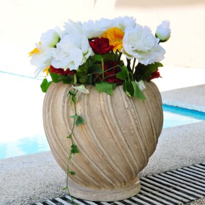 13 1/2in. dia. Cast Stone Swirl Planter-Burnished Aged Limestone (PF3757BAL)