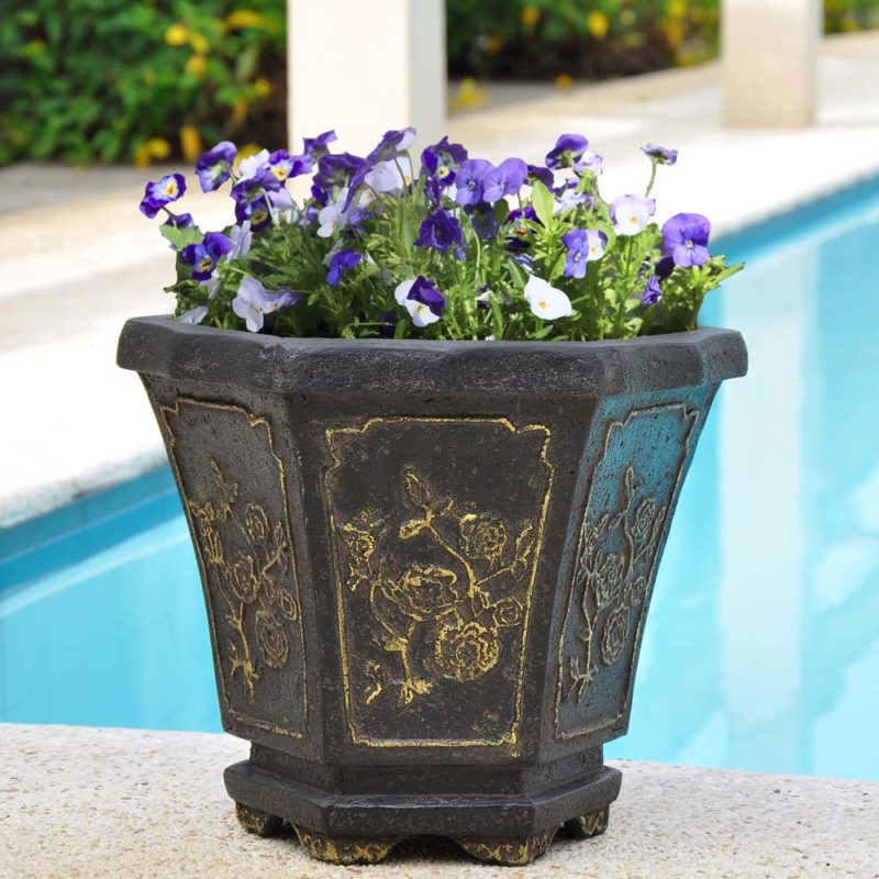 15 in. x 14 in. Hexagonal Cast Stone Oriental Planter with Gold Tipping in an Aged Charcoal finish (PF5757AC)