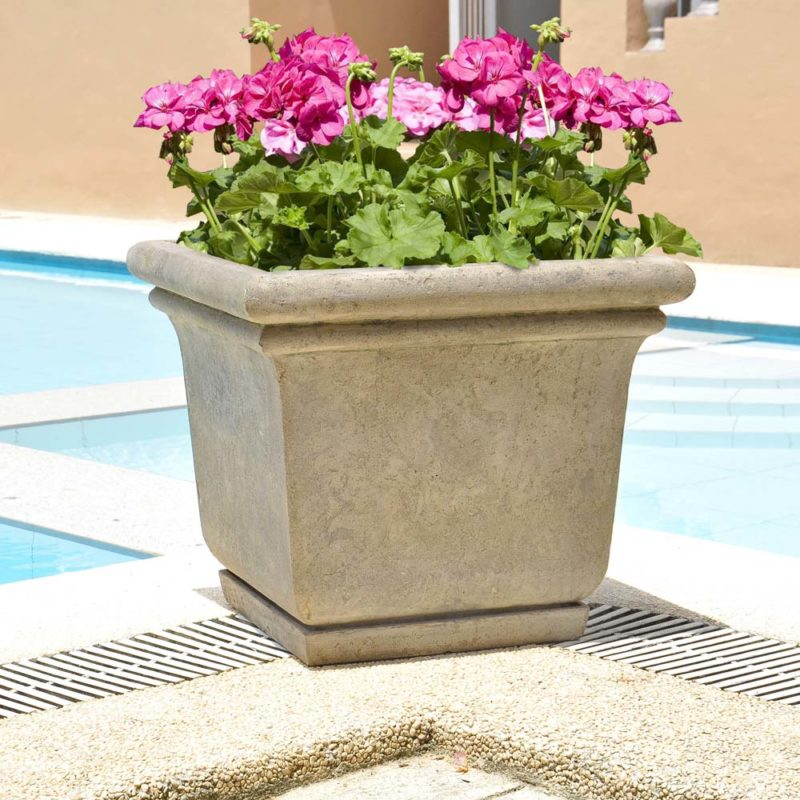24 in. Square Aged Granite Cast Stone Planter with Attached Saucer (PF5762AG)
