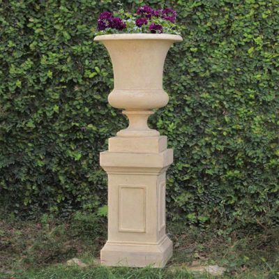 12 in. Square Limestone Cast Stone Medici Pedestal or Planter (PF4680AL)