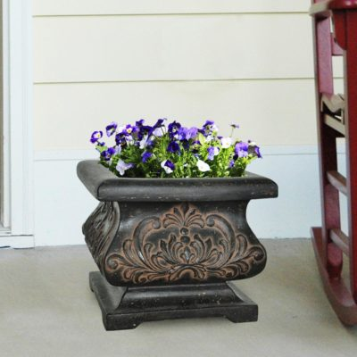 18 in. Square Aged Charcoal Cast Stone Bombe Planter (PF5795AC)