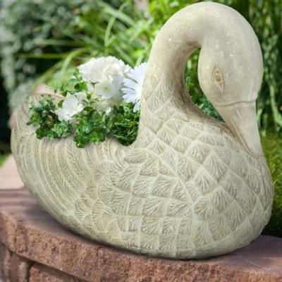 25 in. x 12-1/2 in. Limestone Cast Stone Swan Planter (PF5794AL)
