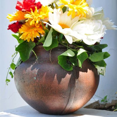 12 in. Round Copper Patina Cast Stone Caldron Pot (PF5868CP)