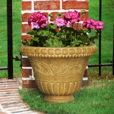 18 in. Round Aged Ivory Low Bowl Planter (PS6029AI)