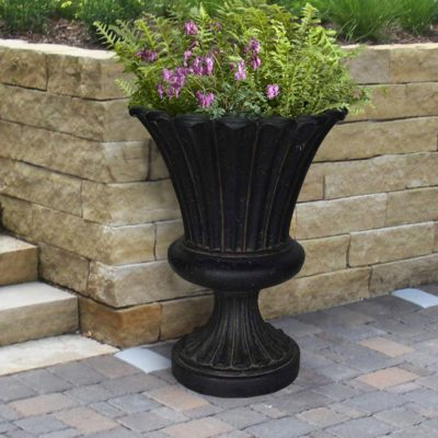 22 in. x 29-1/4 in. Cast Stone Long Leaf Urn in Aged Charcoal (PF6117AC)