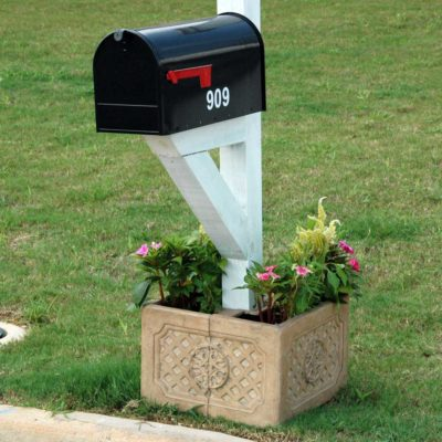 18 in. Square Aged Ivory Cast Stone Mailbox Planter (PF6123AI)