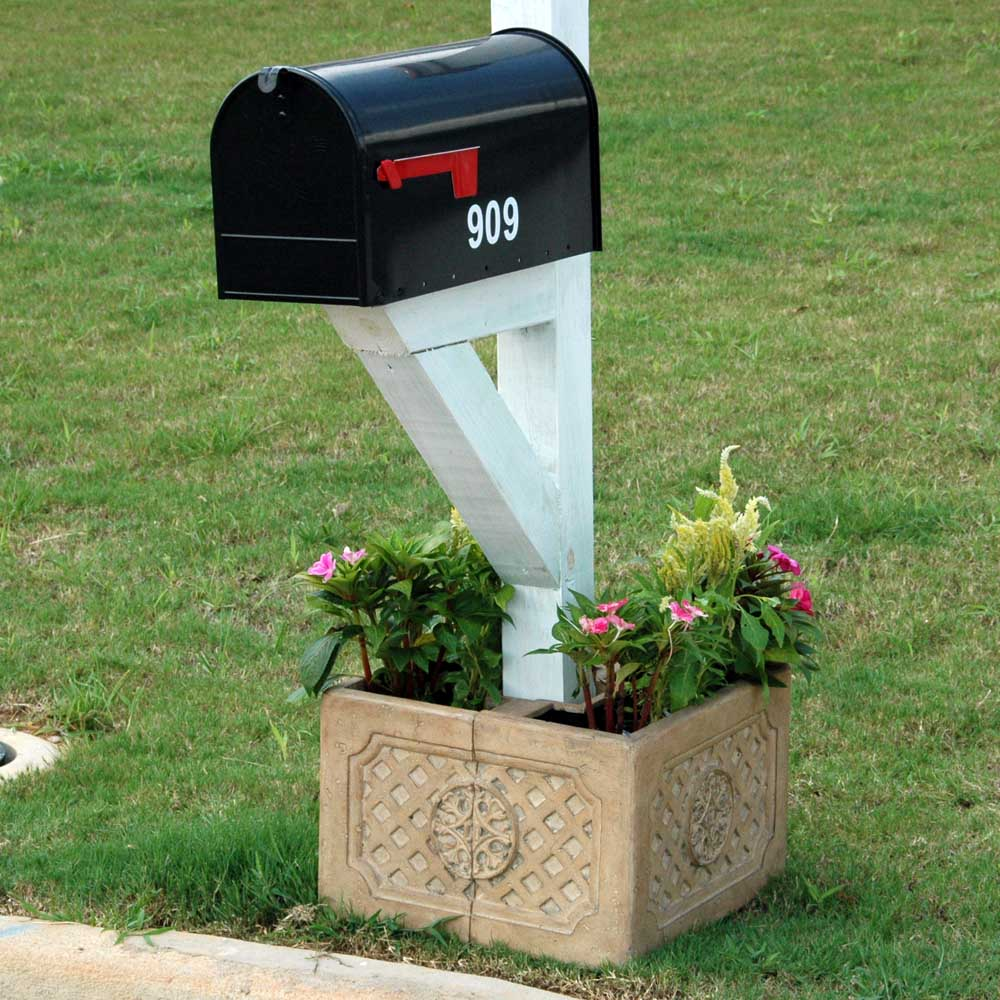 18 In Square Aged Ivory Cast Stone Mailbox Planter Pf6123ai Mpg