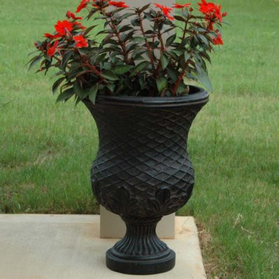 13 in. x 18 in. Cast Stone Yorvit Urn in Aged Charcoal (PF6213AC)