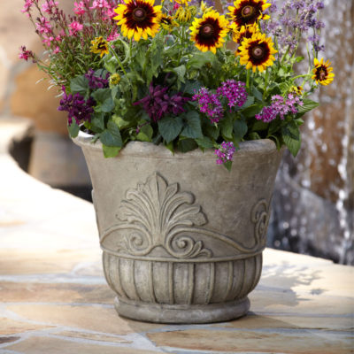 19 in. D Special Aged Granite Cast Stone Italian Leaf Pot (PS6843SAG)