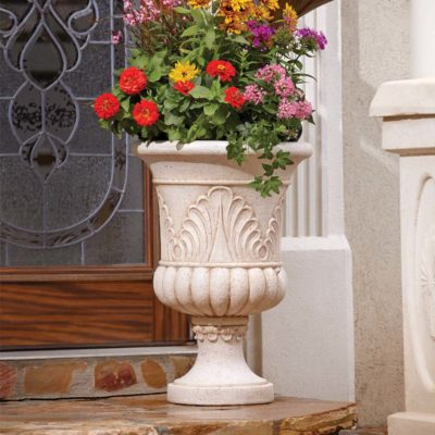 20 in. x 28 in. Cast Stone French Urn in Aged White (PF6846AW)