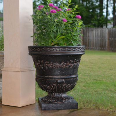 21 in. H. Charcoal Cast Stone Rose Urn (PF7521AC)