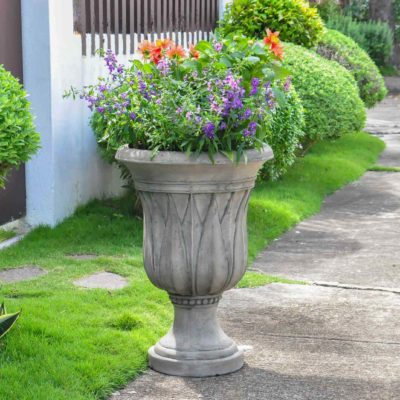 21 in. H. Granite Cast Stone Sharp Leaf Urn (PF4307SAG)