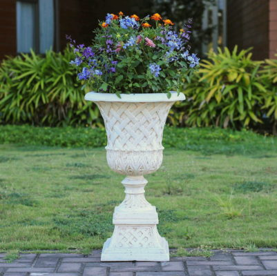 26.5 in. H. Aged White Cast Stone Lattice Urn and Pedestal (PF5825AW)