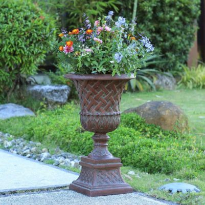 26.5 in. H. Patina Green Cast Stone Lattice Urn And Pedestal (PF5825PG)