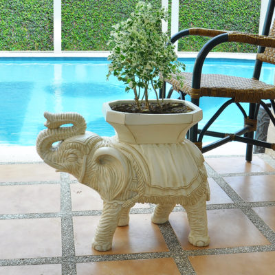 23 in. L x 11.5 in. W White Composite Elephant Table or Planter (PC7111AW)