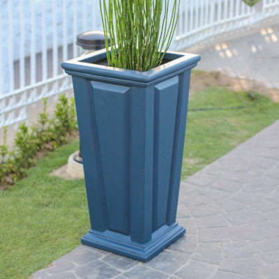 27 in. H Neptune Blue Composite Tall Tapered Raised Panel Planter (PC7132NB)