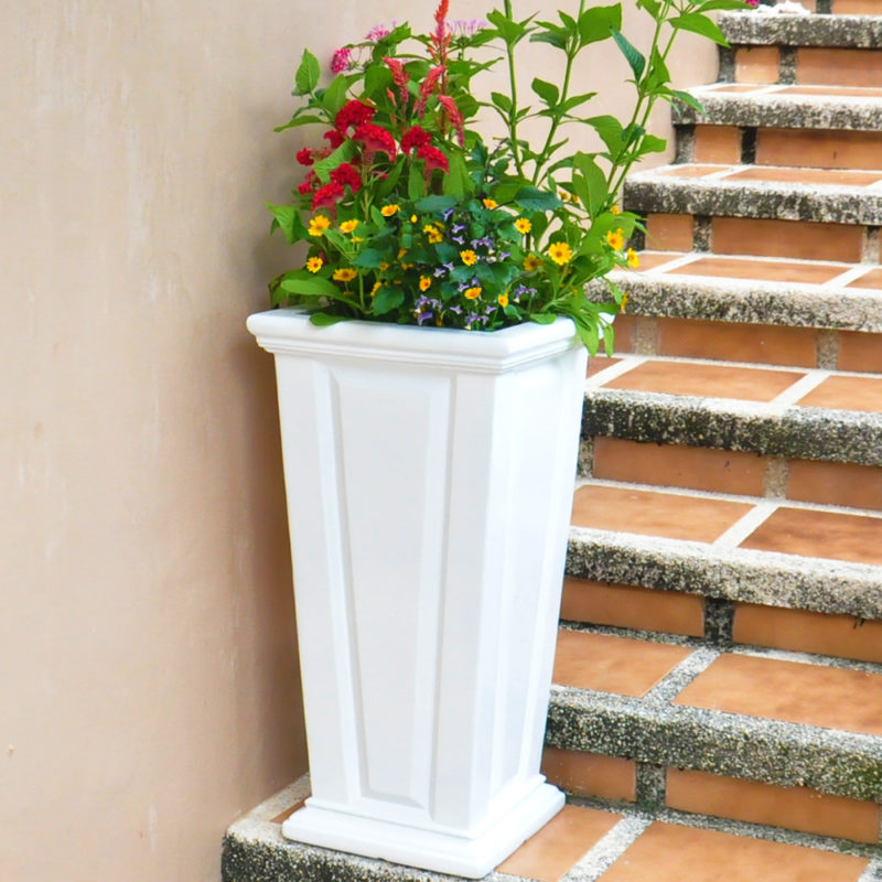 27 in. H. White Composite Tall Tapered Raised Panel Planter (PC7132WHT)
