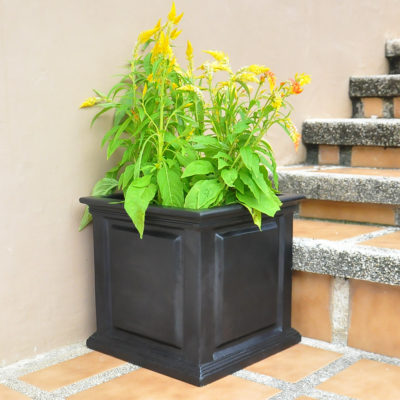 14 in. sq. Black Composite Straight Side Panel Planter (PC7140BLK)