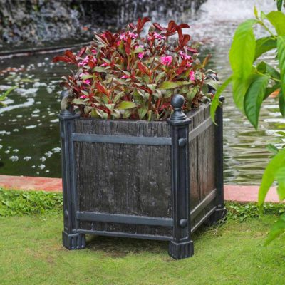 17.5 in. sq. Black Metal on Wood Composite Wood/Metal Look Planter (PC7199BMW)