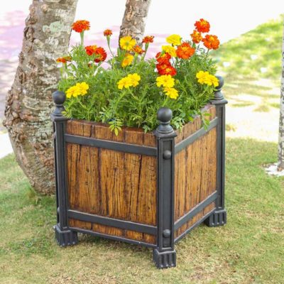 17.5 in. sq. Metal on Wood Composite Wood/Metal Look Planter (PC7199MW)