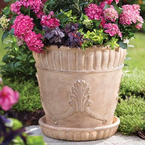 23 in. Dia Ivory Acanthus Cast Stone Pot with Saucer - Travertine Planters