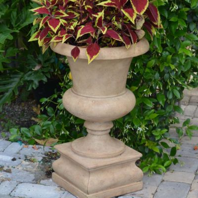 16.25 in. x 26.5 in. Cast Stone Padua Urn and Pedestal in Aged Ivory (PF6552AI)