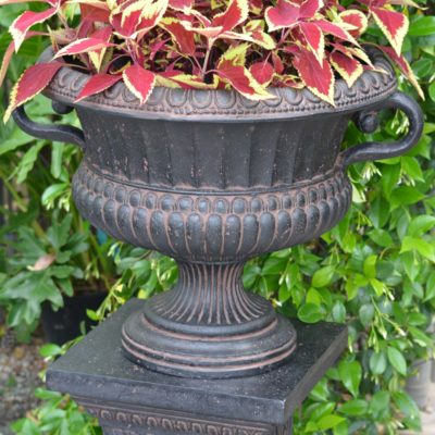 24 in. x 18 in. Cast Stone Urn with Handles in Aged Charcoal (PF6653AC)