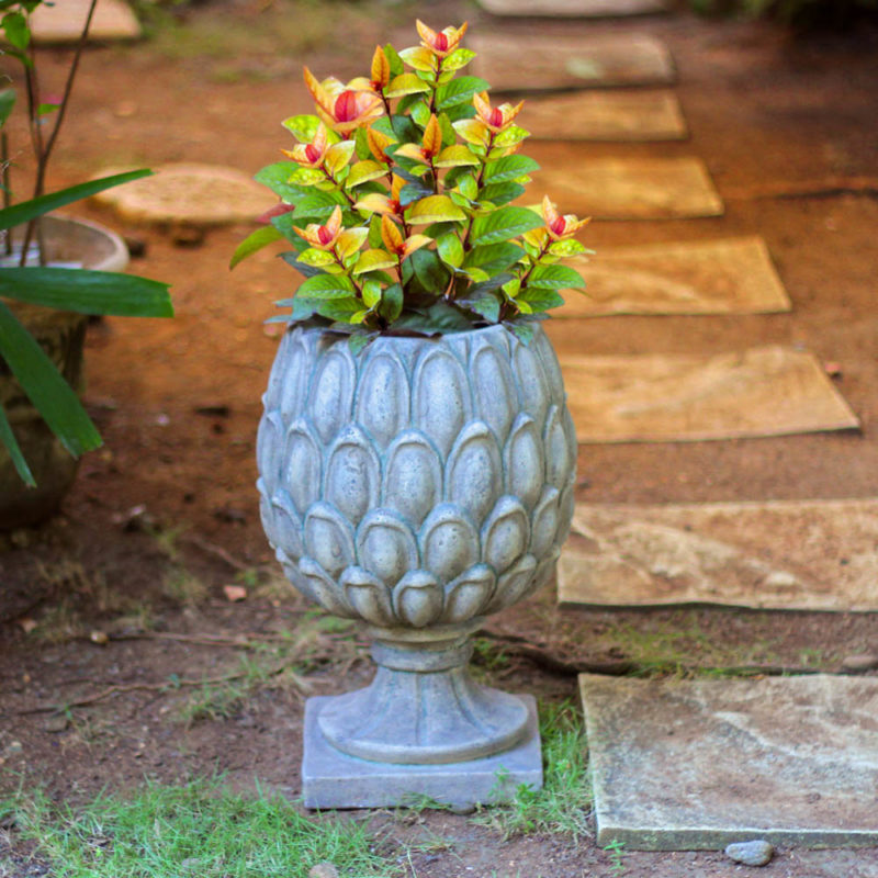 23.75 in. H Granite Cast Stone Artichoke Urn with Cover (PF7113SAG)