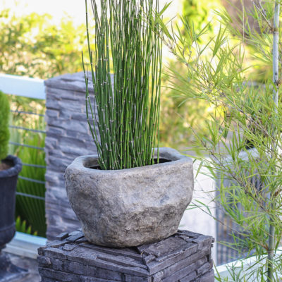 12.75 in. W. x 9.5 in. H Dark Granite Cast Stone Rock Planter03 (PF7273DG)
