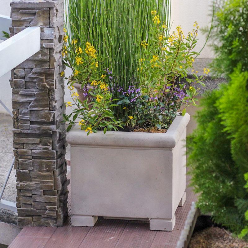 19 in. Square Smooth Cement Cast Stone Veteran's Planter (PF7309SC)