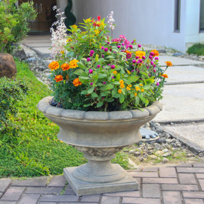 17 in. H Granite Cast Stone Low Urn (PF7440SAG)