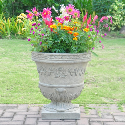 21 in. H. Granite Cast Stone Rose Urn (PF7521SAG)