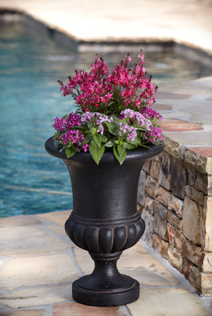 Null 21.in H Charcoal Cast Stone Bulbous Urn - Affordable Nursery Pots and Large Planters