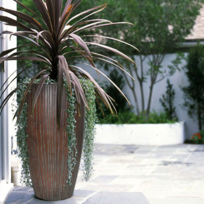 27 in. H Patina Green Composite Ribbed Planter (PC7794PG)