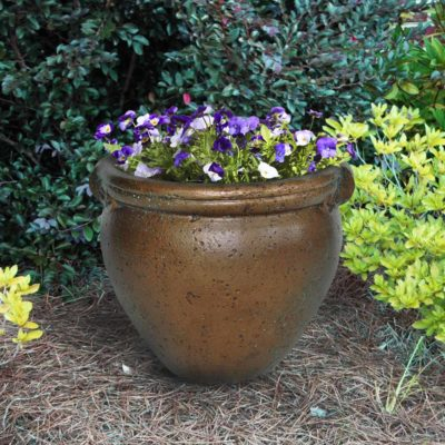 13 in. Round Copper Patina Cast Stone Pot (PF5793CP)