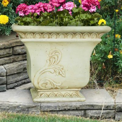 19 in. Square Aged White Tapered Planter (PS5684AW)