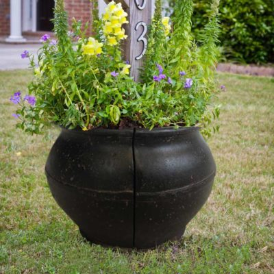 19 in. Round Aged Charcoal Cast Stone Mailbox Planter (PF6728AC)